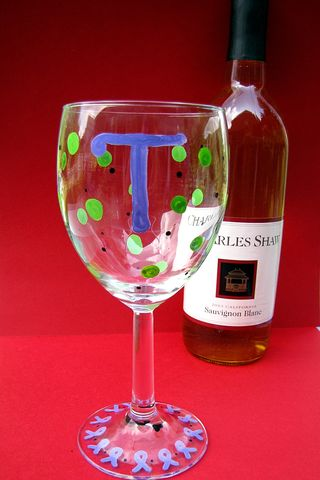Christmas in july painted personalized wine glass with 3 buck chuck