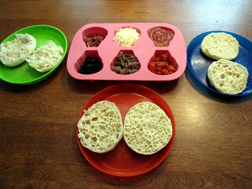 English muffin tin lunch pizza and plates