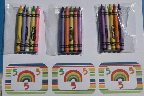Rainbow crayon packs and tags