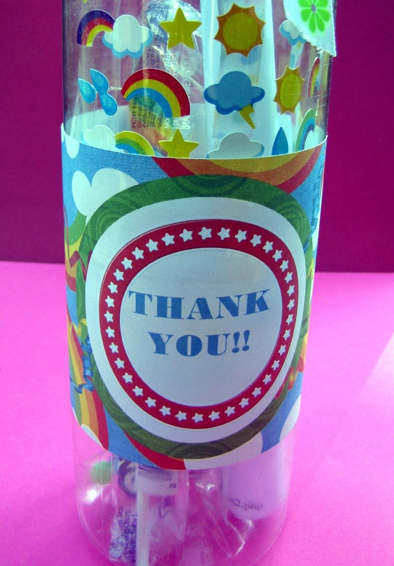 Water bottle party favor close up with free printable