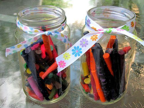 Rainbow rocks naked crayon jars