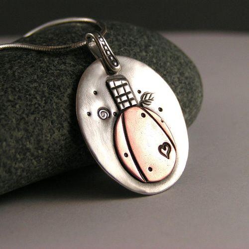 Etsy halloween sterling silver pumpkin necklace