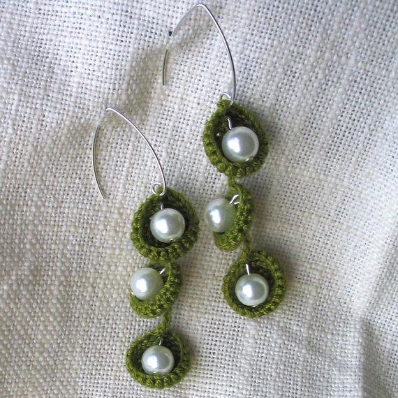 Birthday green crochet earrings from Gilbert and Marie