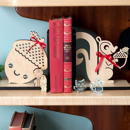 Acorn and squirrel bookends by graphic spaces wood
