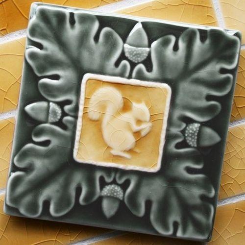 Acorn and squirrel ceramic tile from Lesperance tile
