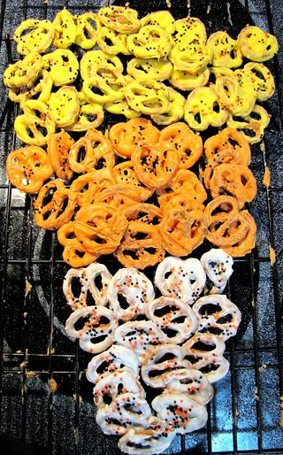 Candy corn chocolate covered pretzels