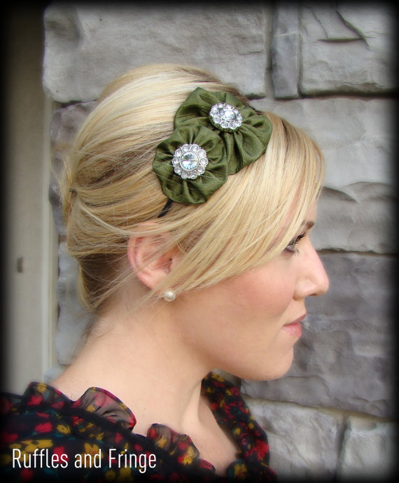 Birthday olive green headband from Ruffles and Fringe