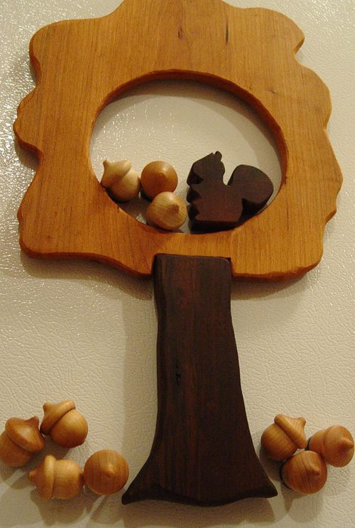 Acorn and squirrel tree puzzle magnets from Wooden Moose Creations