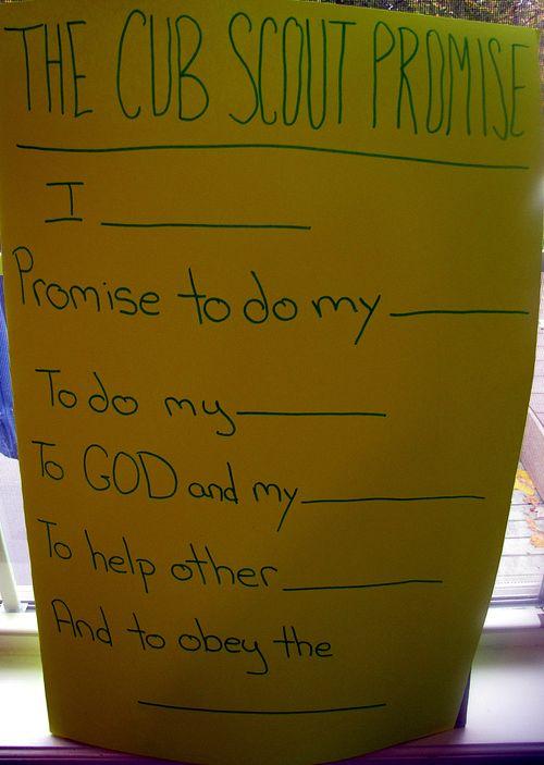 Cub scout promise practice board